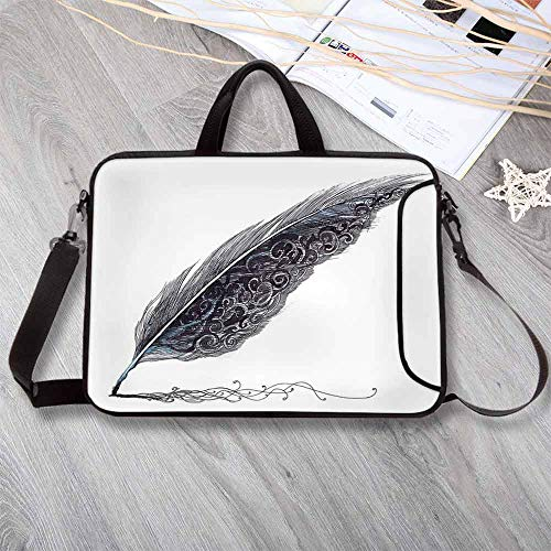 Feather House Decor Waterproof Neoprene Laptop Bag, of a Dated Classic Quill Pen Feather with Leaf Motifs on One Side Laptop Bag for Business Casual or School,13.8