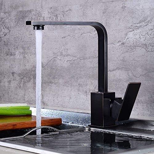 HXC-HXC バスルームのシンクミキサータップブラックオイルラビングブロンズ温水や冷水アンティーク360°スイベルブラックタップバスルームのシンクのために 蛇口