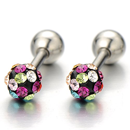 Stainless Womens Earrings Colorful Zirconia