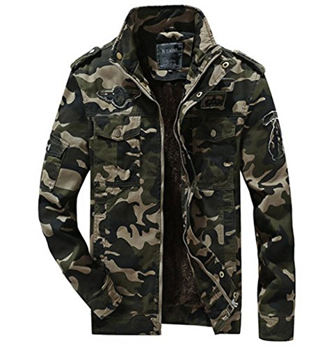 Military Warm Coat Warm Jacket Army Camouflage Lining Cotton Outwear Green Parka Winter Plush Thick Men's YfqxPII