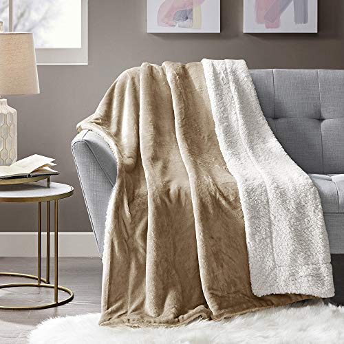 Comfort Spaces DLFBA40-0026 Sherpa/Plush Blanket for Couch-50 x 60 inches Lightweight Cozy Sofa Couch Throw for Beds Office Lap Solid- Solid, Tan ()