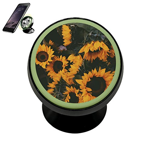 HACol Sunflowers Magnetic Phone Car Mount Holder,360 Rotation Magnetic Car Phone Holder Stand