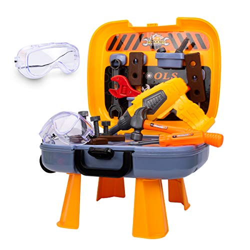 UNIH Toddler Tool Set for Age 2-4 Kids Construction Tools Bench for Toddlers Boys Girls