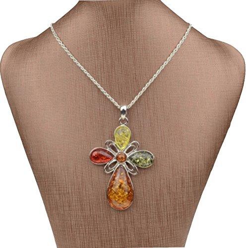 SUMAJU Pendant Necklace Artifical Amber Vintage Chain Drop Necklace Charm Cross Cross Charm Chain Pendant