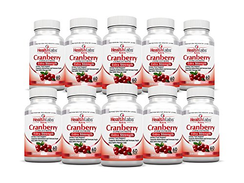 Health Labs Nutra 50:1 Triple-Strength Cranberry Concentrate 10-Month Supply with Vitamins C & E – Promotes Urinary Tract and Immune Support- (Pack of 10) by Health Labs Nutra
