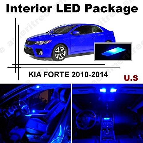 Ameritree Blue LED Lights Interior Package + White LED License Plate Kit for Kia Forte 2010-2012 (7 Pcs)