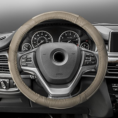 FH Group FH2002SOLIDBEIGE Steering Wheel Cover (Deluxe Full Grain Authentic Leather Solid Beige) ()