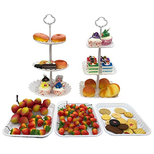 FEOOWV 2pcs 3-Tier Round +Square Cake Stand Party Food Server Display Stand with 3pcs Rectangle Plastic Serving Trays for Wedding Birthday Party (A-Set of -