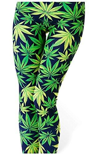 Marijuana Costumes (Sipaya Women's Green Marijuana Leaf Print Party Costume Leggings Tights Clubwear)