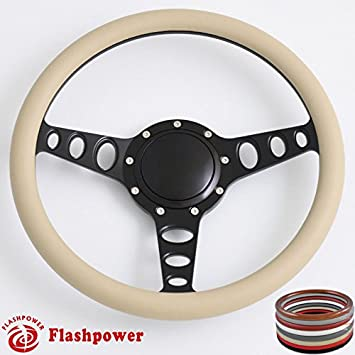 Flashpower 15.5 Billet Half Wrap 9 Bolts Steering Wheel with 2 Dish and Horn Button Black