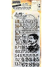 Stamper's Anonymous Tim Holtz Faded Dots Vintage Time Numbers Man Mixed Media Stamp and Stencil Set THMM118