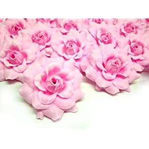 "(24) Silk Pink Roses Flower Head - 1.75"" - Artificial Flowers Heads Fabric Floral Supplies Wholesale Lot for Wedding Flowers Accessories Make Bridal Hair Clips Headbands Dress 56"