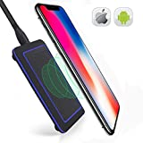 YKing QI Wireless Charging Station Wireless Charger compatible with IPhone 8 8 plus X-Wireless Charger Android-Wireless Charger Samsung S8 Plus S7 S6 Edge Note-QI Wireless Charger Pad-Black