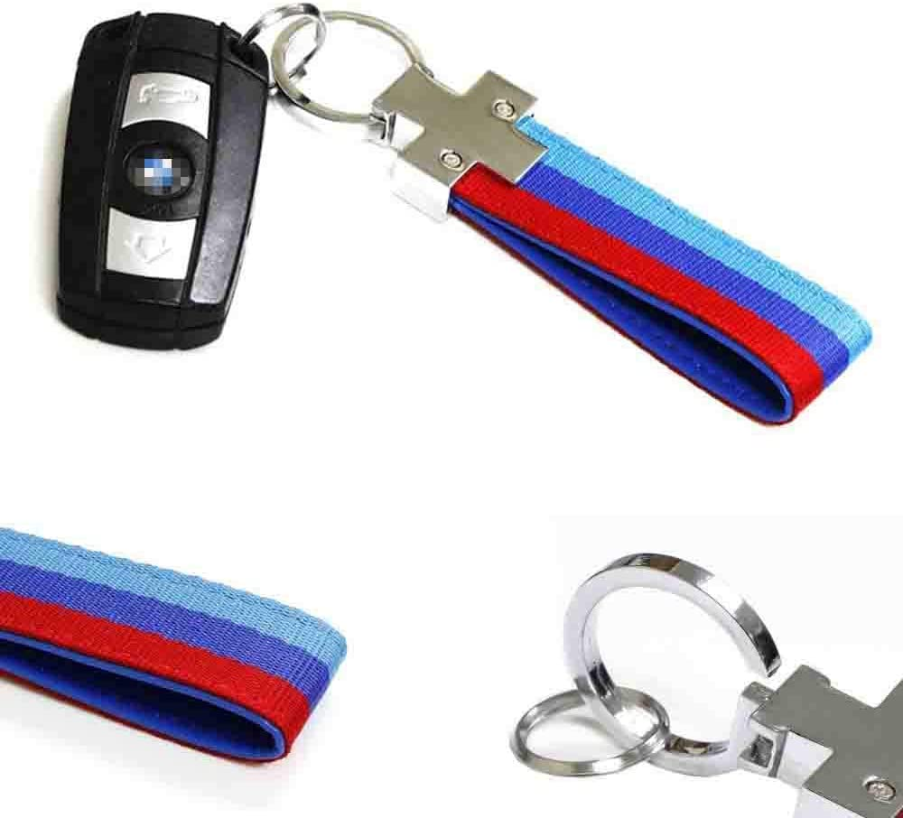 iJDMTOY M-Colored M-Power Theme Stripe Nylon Strap w// Keychain Ring Compatible With All BMW Car Bike Motorcycle