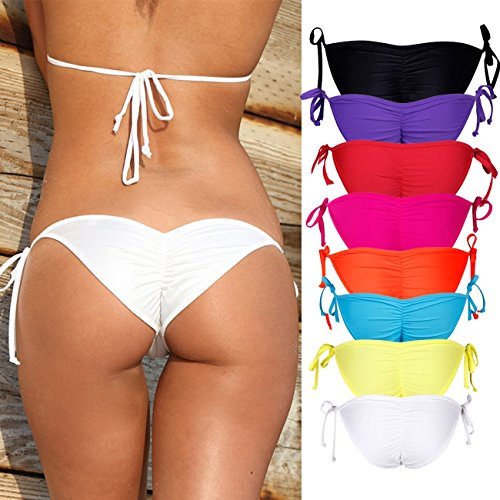 Sexy V Cut Bikini Bottom Tie Sides for women Cheeky Booty T-Back Ladies Swimsuit Black - Cut Side Women For