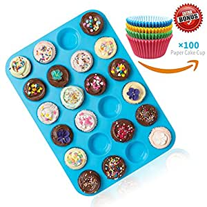 Joyoldelf Large Mini Muffin Pans - 24 Cup Jumbo Silicone Pan for Cupcakes and Premium Baking - Non Stick Tray / Bakeware - Silicon Mold, Heat Resistant up to 450°F - Dishwasher and Microwave Safe - Blue
