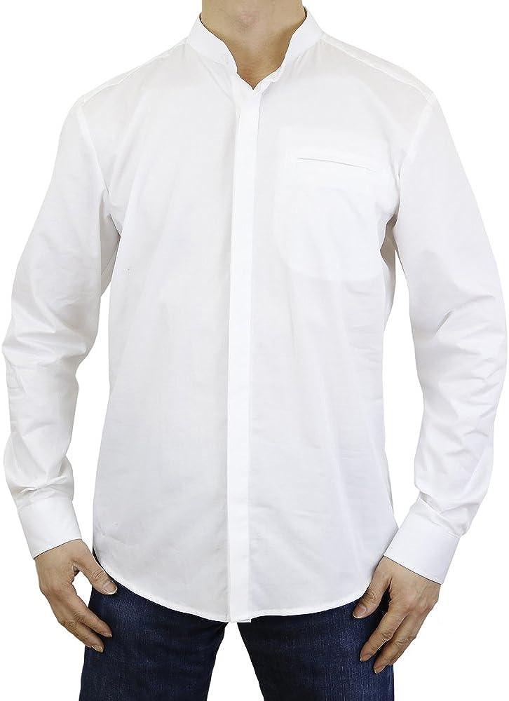 Sinologie - Camisa de cuello mao con botones de algodón de algodón blanco