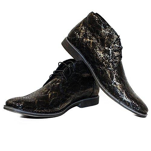 PeppeShoes Modello Sinomo - Cuero Italiano Hecho A Mano Hombre Piel Negro Chukka Botas Botines - Piel de Cabra Cuero Repujado - Encaje