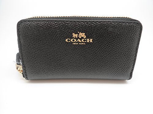COACH F57855 SMALL DOUBLE ZIP COIN CASE IN CROSSGRAIN LEATHER BLACK