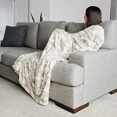 GRACED SOFT LUXURIES Faux Fur Throw Blanket Large Warm Cozy Super Soft Throw 50  x 60 , Marbled Ivory