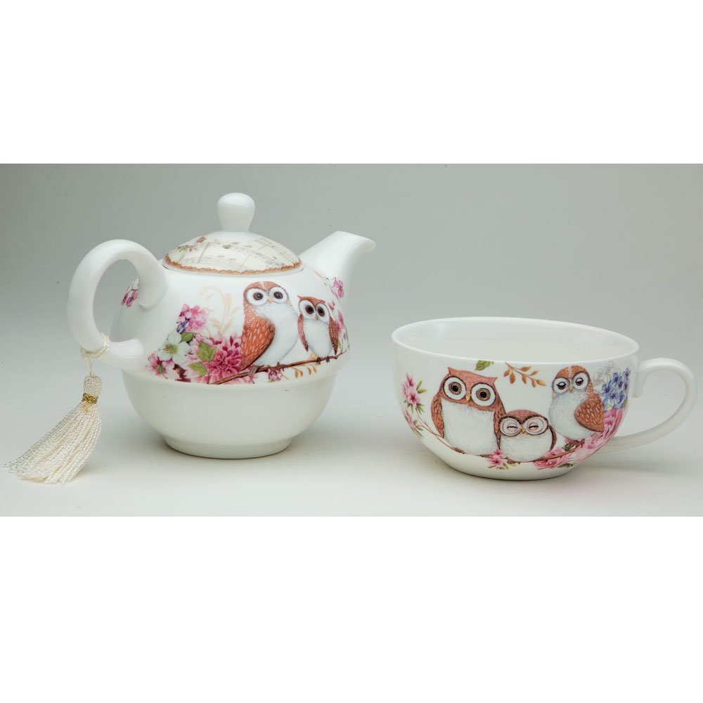 Bits and Pieces - Tea For One Owls Porcelain Teapot and Cup - Adorable Owl Design by Bits and Pieces (Image #4)