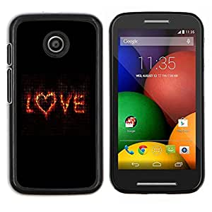 - TEXT VALENTINES LOVE BLACK HEART FLAMING - Caja del tel¨¦fono delgado Guardia Armor- For Motorola Moto E (1st Gen, 2014) Devil Case