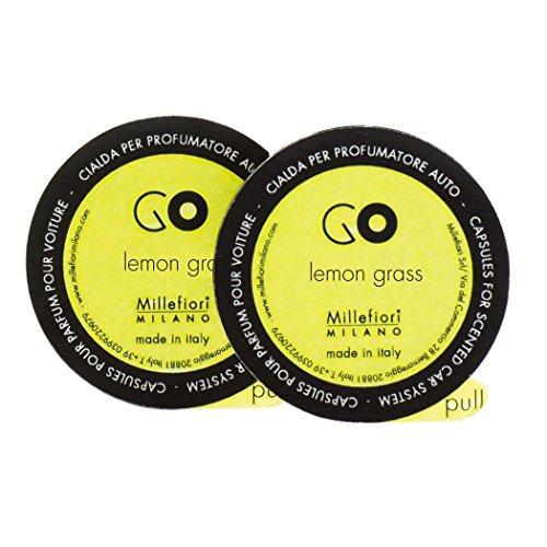Refill for Lemon Grass Millefiori Milano Go Car Diffuser - 2 Capsules (Verbena Aromatherapy)