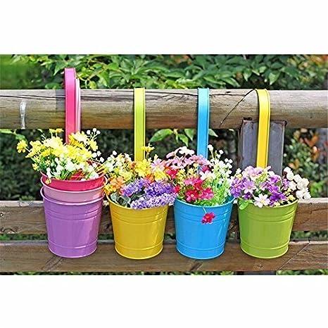 10 pcs para colgar macetas, de metal para colgar macetero de balcón jardín planta Planter, balcón jardín cubo de metal macetas, los titulares de flores para ...