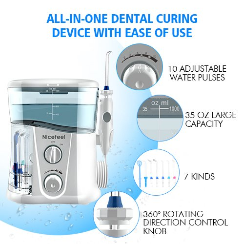 Nicefeel Water Flosser - Water Flossing Dental Oral Irrigator with 10 Pressures, Supports 150 Seconds Cleaning, Dental Flosser with 7 Tips for Family by Nicefeel (Image #4)