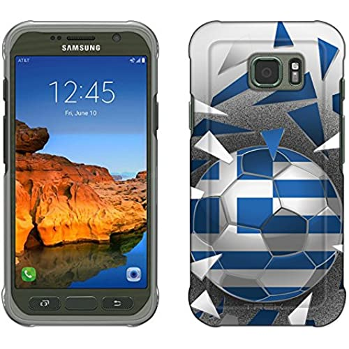 Samsung Galaxy S7 Active Case, Snap On Cover by Trek Soccer Ball Greece Flag Slim Case Sales