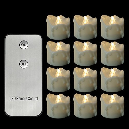 LifeGenius 12 PCS Flameless Candles Flickering Warm White Remote Control Wax Dripped Unscented Small Flashing Votive Battery Operated Tea Lights For Wedding Party Holiday Decoration (Non Stop For Halloween 2017)