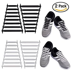 Uniqhia No Tie Shoelaces for Kids and Adults - Multicolor Fashion Sports Fan Shoelaces - Fits Most Types Shoes - Sneaker Boots, Board Shoes Sport Shoes and Leisure Footwear (2 Pack for Adult)