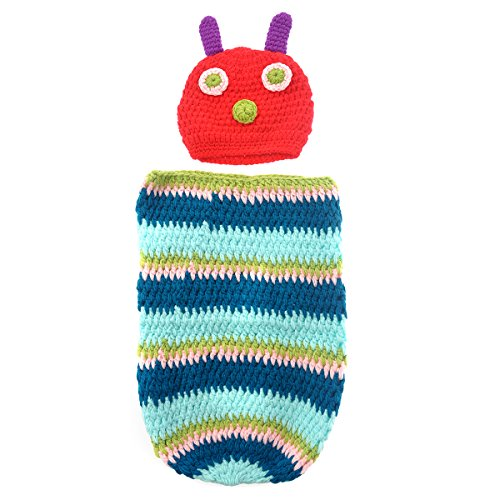 Foxnovo Cute Caterpillar Style Baby Infant Newborn Handmade Crochet Beanie Hat Clothes Baby Photograph Props (Blue) (Newborn Cocoon)