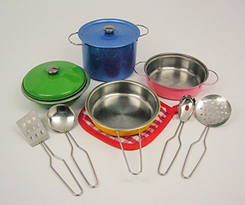 11-pieces Playset Colorful Metal Pots and Pans Kitchen Cookware for Kids w/ Cooking Utensils Set by Kitchen Simulation Series w/ Advanced alloy tableware