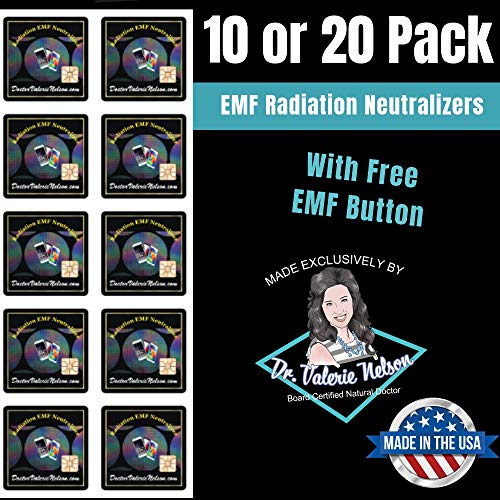 Cell Phone EMF Protection Radiation Neutralizers + Free EMF Neutralizer Button - Slim Design - Proudly Made in The USA - 10 or 20 Pack - Developed by Dr. Valerie Nelson