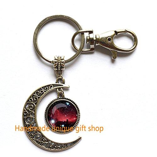 Moon Keychain, Crescent Moon Keychain, Dainty Keychain, Head of horse nebula Keychain Head of horse nebula Key Ring Galaxy Universe Space