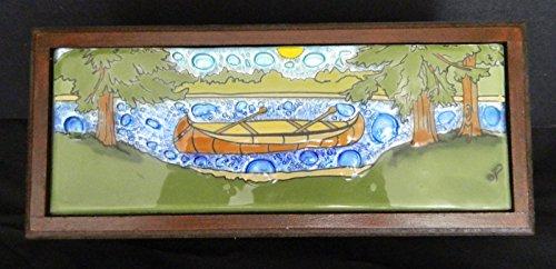 Canoe On Lake Fused Art Glass Rectangular Wooden Treasure Box Lodge Made Ecuador