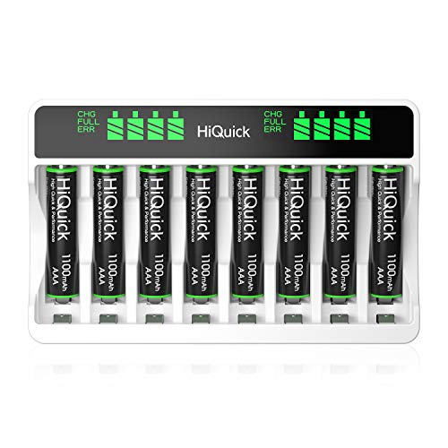 HiQuick AAA Battery Charger with Batteries - 8Bay Battery Charger and AAA Rechargeable Batteries (8Pcs) - Durable & Long Lasting Batteries & Fast Charging