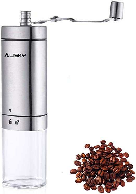 Manual Coffee Grinder,Stainless Steel Portable Hand Crank Mill with Adjustable Ceramic Conical Burr for Home and Travelling