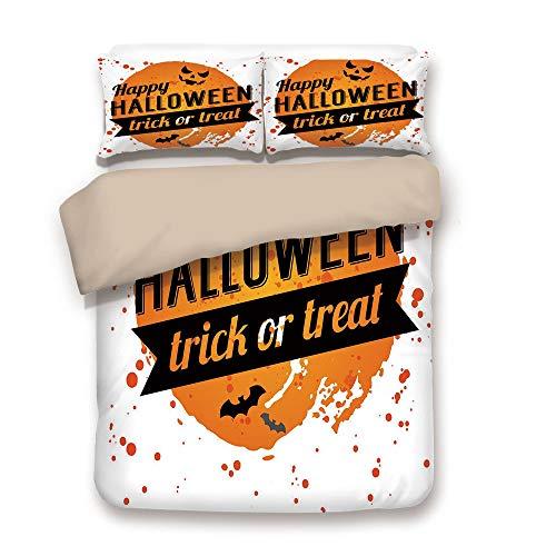 iPrint Duvet Cover Set,Back of Khaki,Halloween,Happy Halloween Trick or Treat Watercolor Stains Drops Pumpkin Face Bats,Orange Black White,Decorative 3 Pcs Bedding Set by 2 Pillow Shams,Full ()