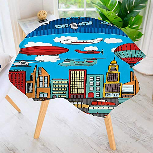 aolankaili Round Tablecloth- Busy City Metropolis with Hot Air Balloon Zeppelin Plane UFO Urban Town Graphic Waterproof Wine Tablecloth Wedding Party Restaurant 35.5