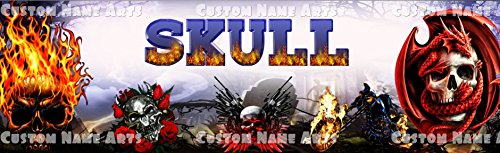 (Personalized Fire Skulls Banner Birthday Poster Custom Name Painting)