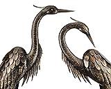 Wonders Shop Outdoor/Indoor Accent Metal Bronze Herons Patina Cranes 43' - 45' Figurine Statues Bird Copper/Bronze 2pcs