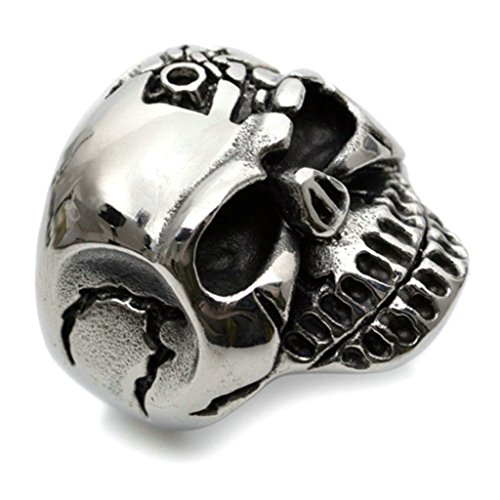Stainless Steel Ring for Men, Skull Ring Gothic Silver Band 26MM Size 11 - Plains Galleria The White