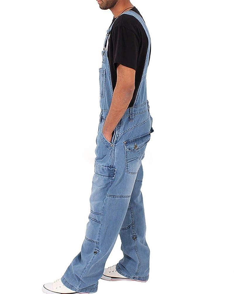 Homme Jeans Salopette Revers Pantalon en Denim Skinny Regular Combinaisons De Rue /À La Mode