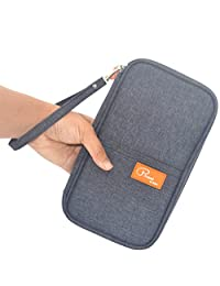 FLYMEI® Multifunctional Travel wallet with Hand Strap - Passport Wallet Passport holder Travel Organizer Wallet for Card Money Ticket Mobile - Gray
