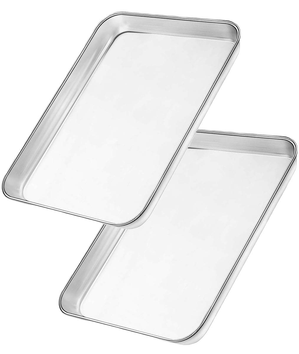 Bangder Heavy Duty Stainless Steel Sheet Pan Easily Wipes Clean! Baking Sheet Pan for Toaster Oven, Mirror Finish & Rust Free, Dishwasher Safe, 10 X 8 inch, Set of 2
