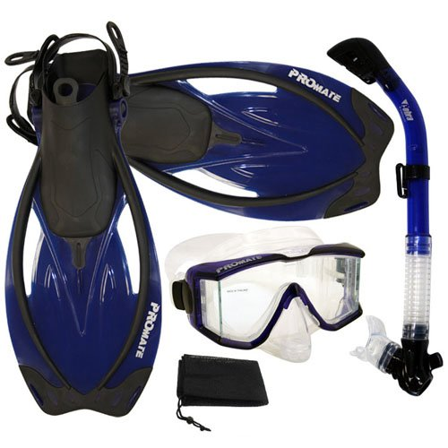 PROMATE Snorkeling Scuba Dive Panoramic PURGE Mask Dry Snorkel Fins Gear Set, Trans. Blue, S/M (Gear Set Package)