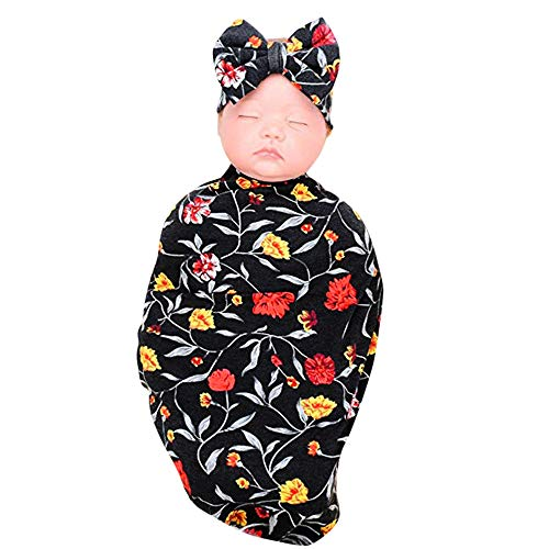 Capa Para Bebés Cartoon Amphia Sleeping Swaddle Manta Suave Negro 2pcs Conjunto Dormir Nacido Diadema Saco Recién Bebé A Wrap De wqqP7T
