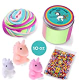 Fluffy Slime Putty Kit - 10 Oz Jumbo Size - Floam Slime - Unicorn Gifts Package with Foam Beads and 3 Mochi Squishy Unicorn Toys (BONUS) - Unique Gift For Girls and Boys - By Infiniza